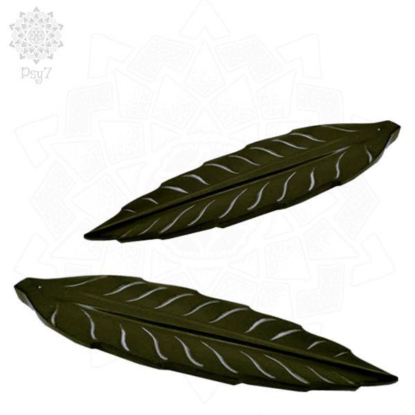 Räucherstäbchenhalter | schwarzer Speckstein - Blatt