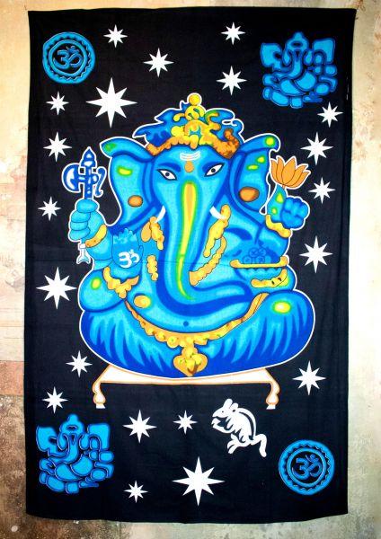 Wandtuch - Dekotuch | Ganesh - blau