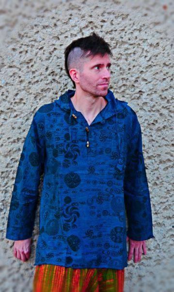 Kapuzenhemd   Goa Hemd - Blau