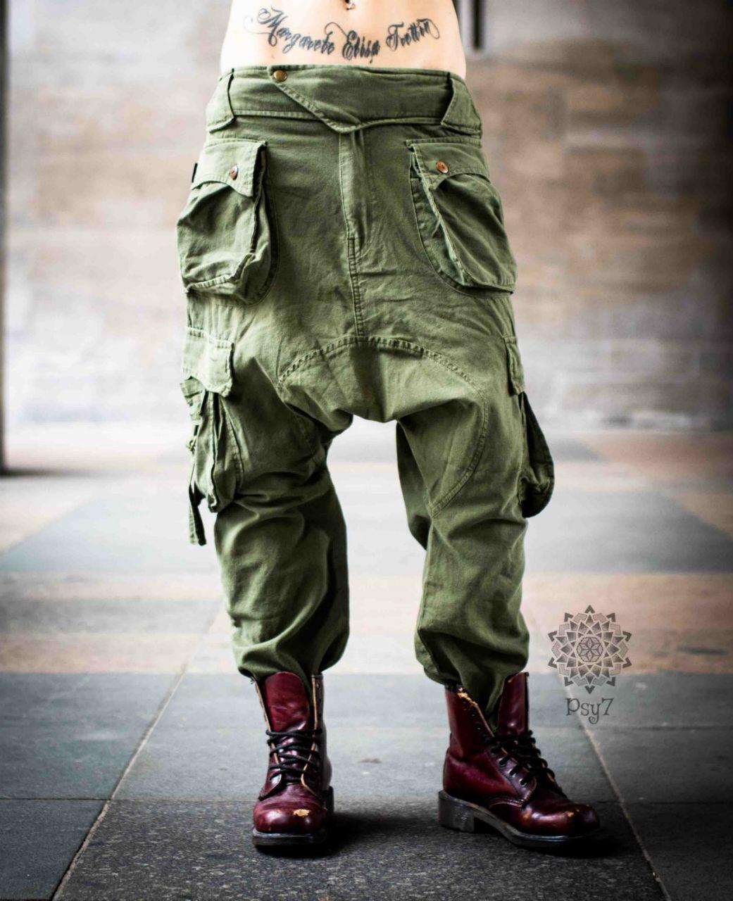 Haremshose Shalwar | Cargohose Men | grün