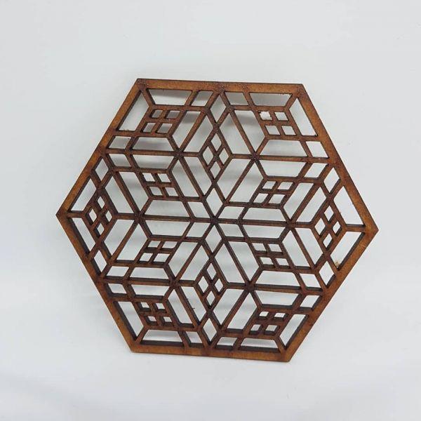 Laser Cut Coaster - Pagoda - 9cm