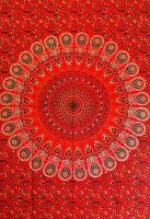 Wandtuch | Überwurf - Red Mandala Peacock
