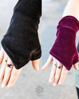 Handstulpen | Samt schwarz - bordeaux