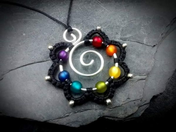 Aroha - Mandala Kette 7 Chakren Messing | Silber