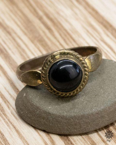 Ring golden Luna | Obsidian
