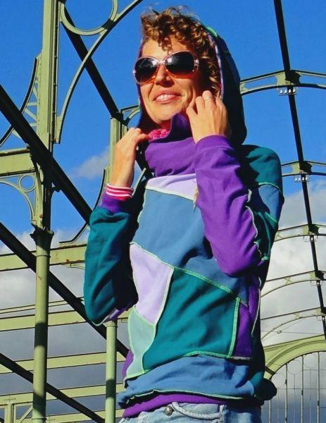 Patch Hoodie | Lila - Petrol | Girls
