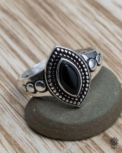 Ring Albin silber   Obsidian