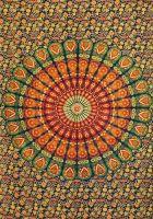 Wandtuch | Überwurf - Orange Mandala Peacock