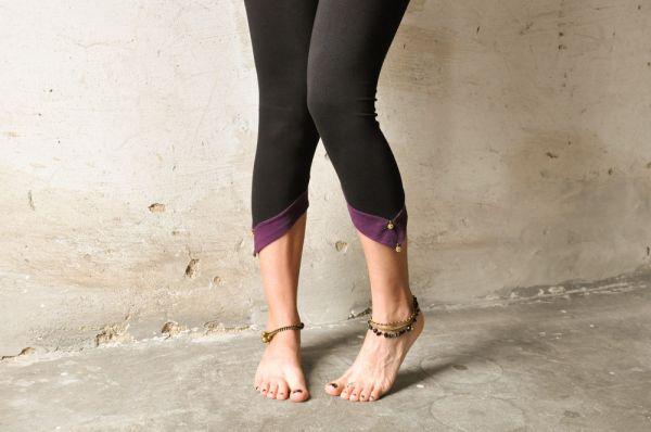 Leggings - Zipfel & Perle   schwarz - violett