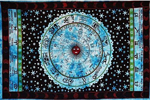 Wandtuch | Überwurf - Horoskop - Blau
