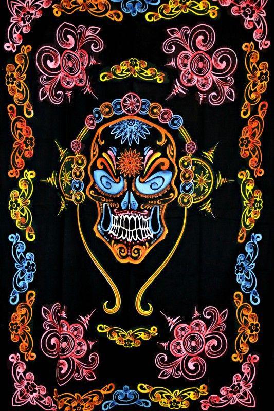 Wandtuch   Überwurf - Mexican Skull - UV aktiv