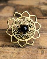Ring | Lotus Flower Of Life | Obsidian