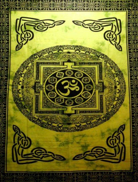 Wandtuch   Überwurf - Green Yantra OM