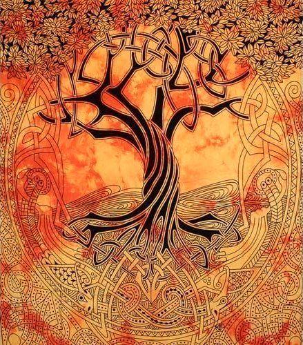 Wandtuch   Überwurf - keltischer Lebensbaum - Yggdrasil   orange