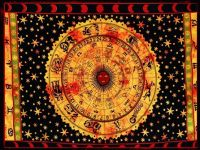 Wandtuch | Überwurf -  Horoskop - Orange