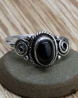 Ring Fara silber | Obsidian