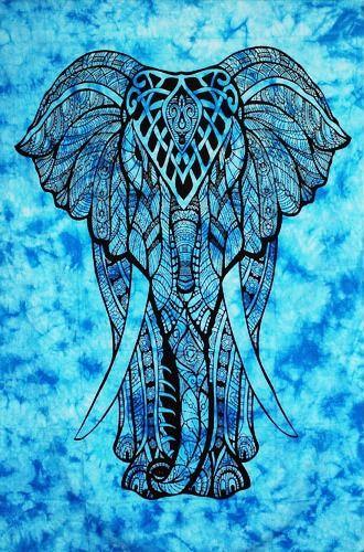 Wandtuch - Bettüberwurf Kunjara - Elefant blue